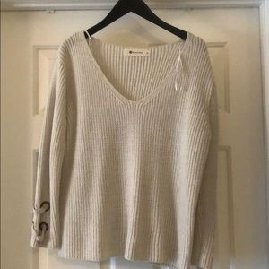 Cream v-neck sweater